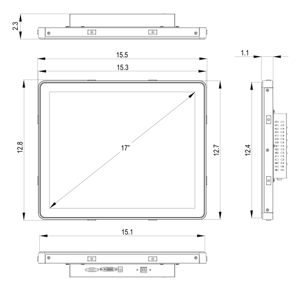 17-Inch Antibacterial Monitor Technical Dimensions