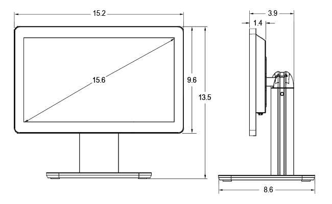 15.6-inch Wide Desktop Touchscreen Dimensions