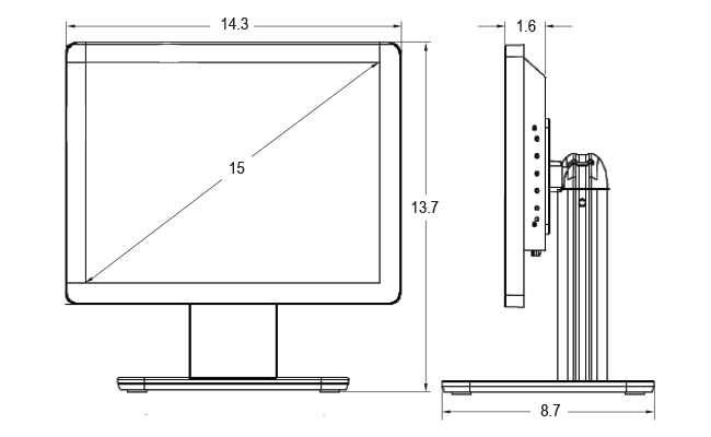 15-inch Desktop Touchscreen Dimensions