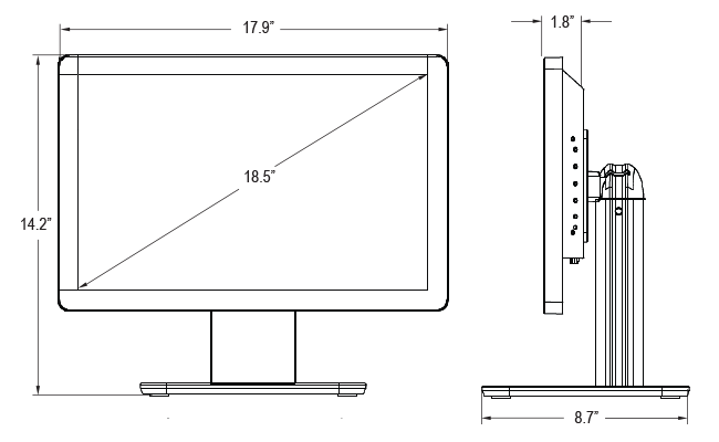 18.5-inch Wide Desktop Touchscreen Dimensions