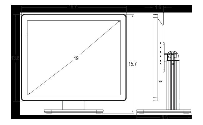 19-inch Desktop Touchscreen Dimensions