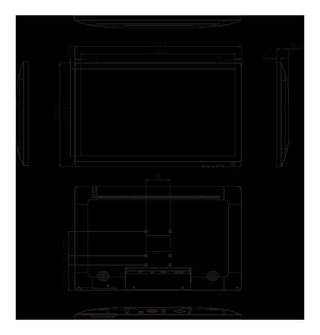 21.5-inch Wide Full HD Desktop Touchscreen Dimensions