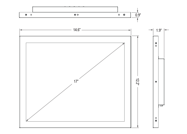17-inch Open Frame PCAP Touchscreen with Privacy Filter Screen Dimensions
