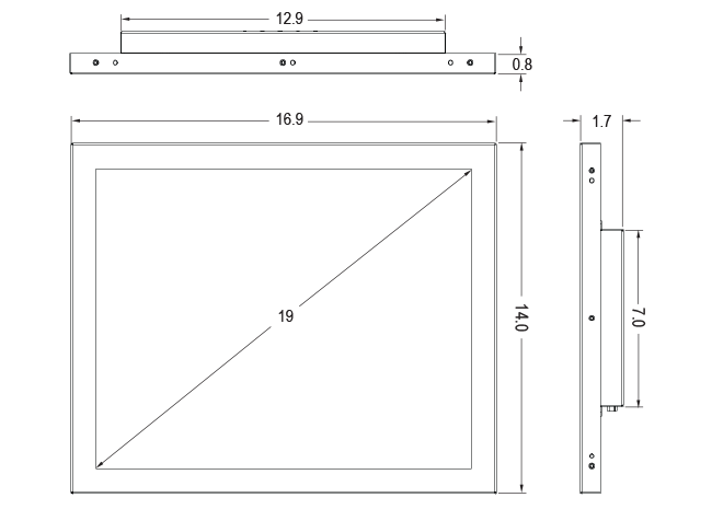 19-inch Open Frame Touch Monitor Dimensions