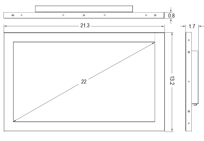 22-inch Open Frame Touch Monitor Dimensions