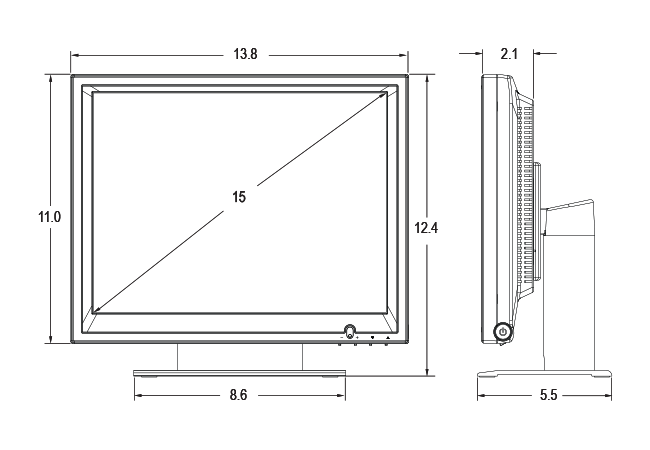 15-inch POS Touchscreen Dimensions