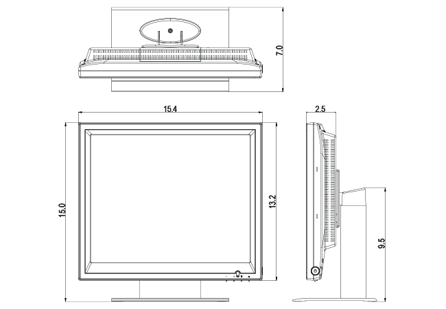 17-inch POS Touchscreen Dimensions