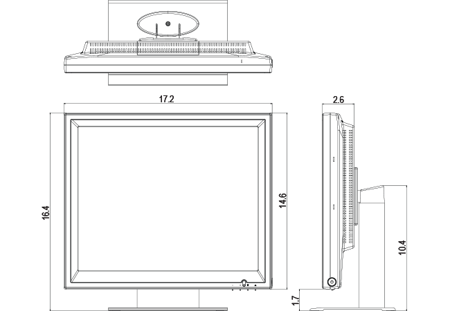 19-inch POS Touchscreen Dimensions