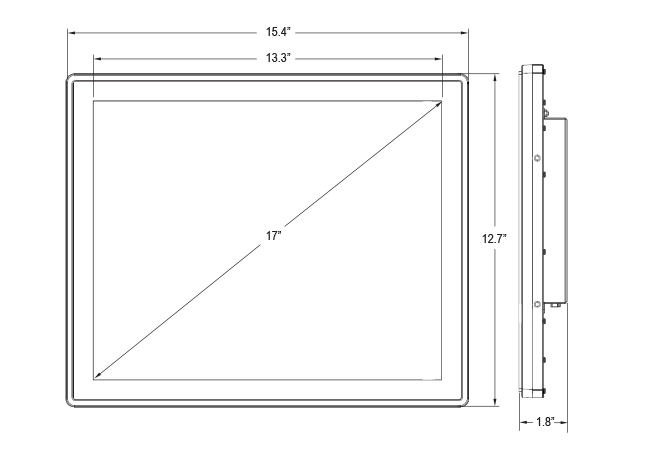 17-inch Rear Mount Touch Monitor Dimensions