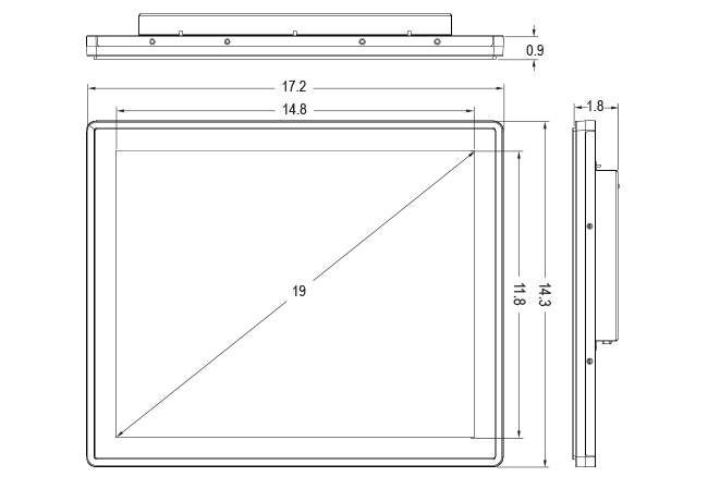 19-inch Rear Mount Touch Monitor Dimensions