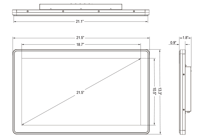 21.5-inch Rear Mount Touch Monitor Dimensions