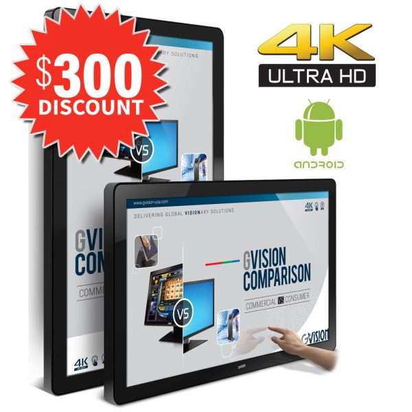 """55"""" 4K UHD digital signage large format with built-in Android OS"""